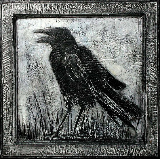 Katherine Nelson, Laughing Crow 2005, encaustic wax and pencil on cabinet door
