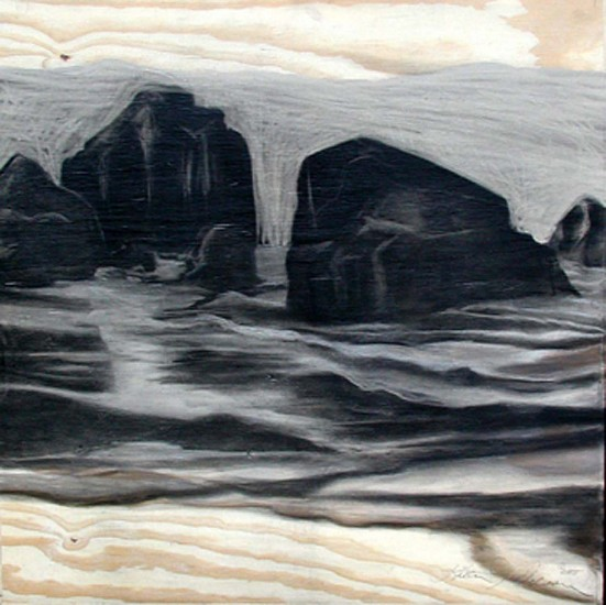 Katherine Nelson, Rocks and Surf I 2005, charcoal on plywood with cold wax