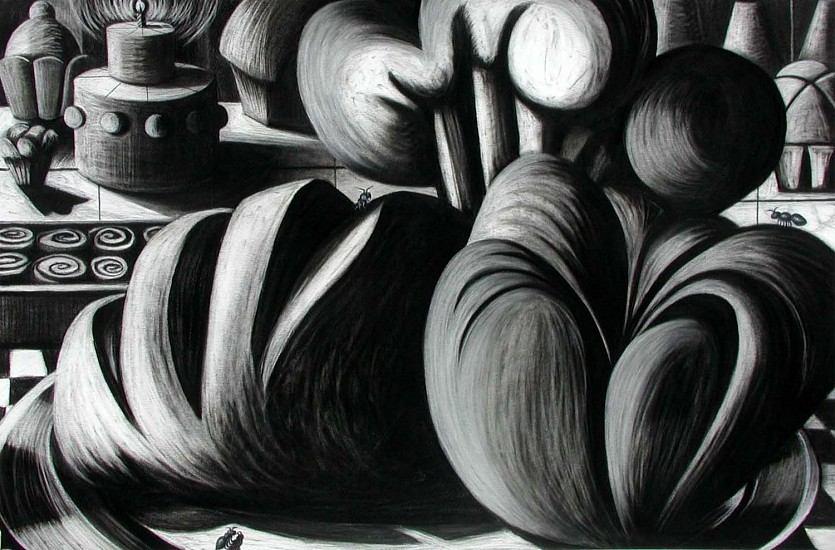 Katherine Nelson, Ants in the Kitchen 2005, charcoal on paper