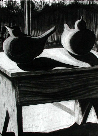 Katherine Nelson, Birds on a Bench 2005, charcoal on paper