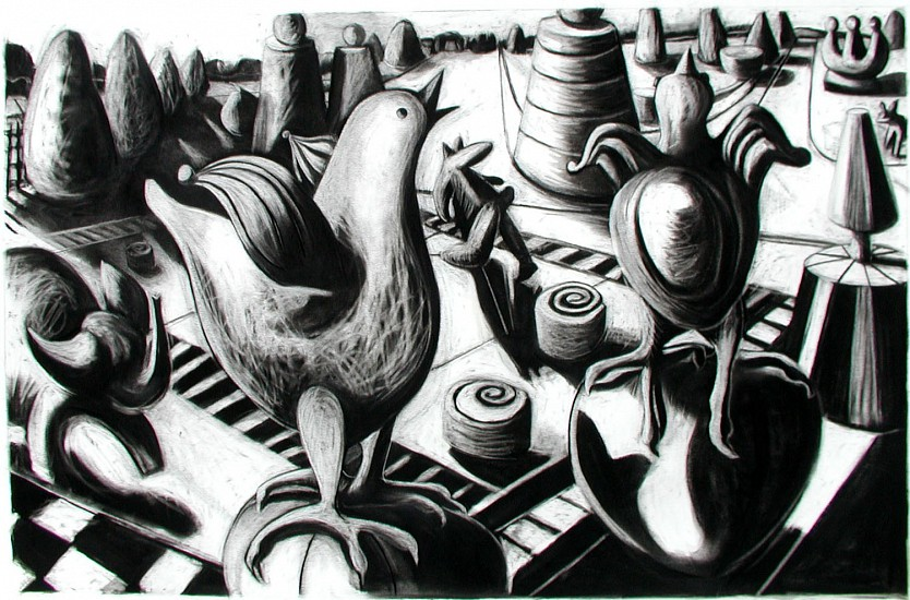 Katherine Nelson, Chicken Dance 2005, charcoal on paper