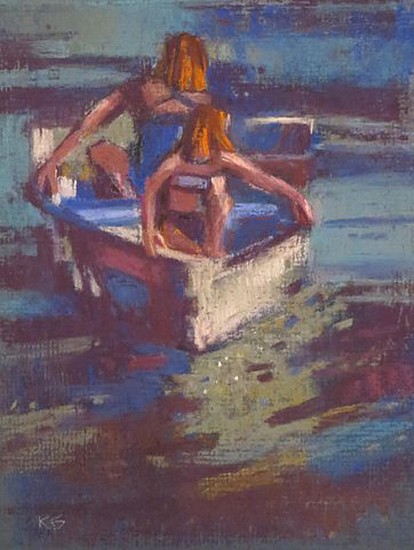 Kathy Gale, Rocking Their Boat 2013, soft pastel drawing on board