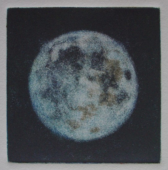 Elaine Green, Blue Moon 2013, mezzo tint with blue ink