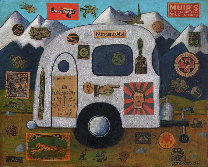 Max Grover, Camping Trip 2013, acrylic & collage on board