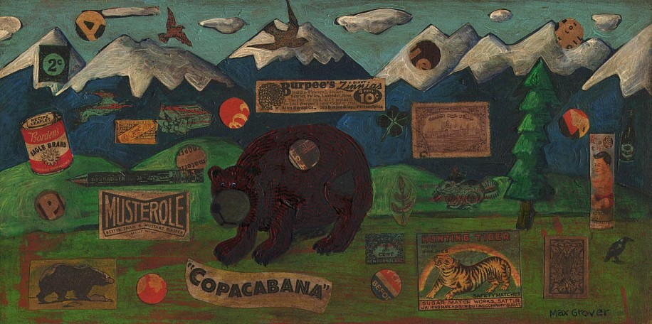 Max Grover, Bear Out of the Woods 2013, acrylic & collage on board