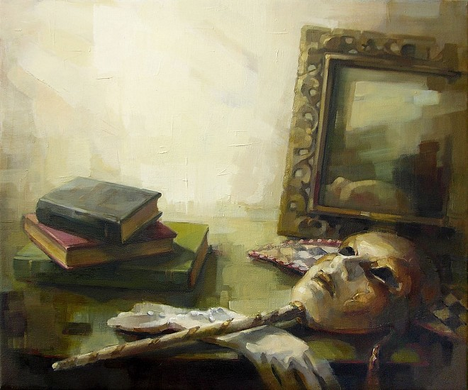 Victoria Brace, Still Life with Mask and Books 2014, oil on canvas