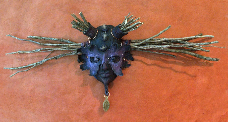 Chris Bivins, Titania 2015, Ceramic, acrylic, twigs, fur, copper, leather