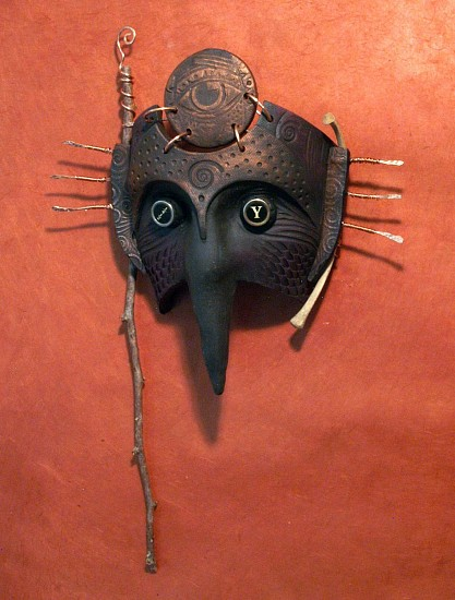 Chris Bivins, Seer 2015, Cermic and mixed media mask