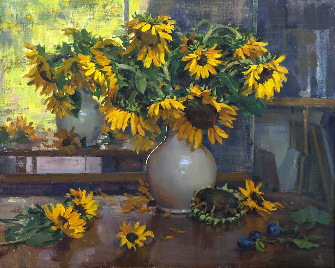 Del Gish, Sunflowers by a Window acrylic on linen