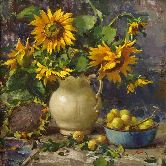 Del Gish, Sunflowers with Yellow Apples oil