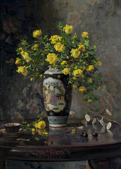 Del Gish, Yellow Roses with Oriental Vase oil