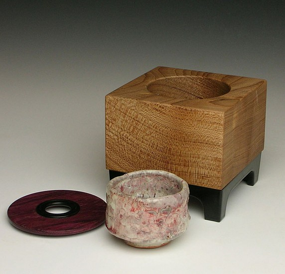 Reid Schoonover, Homage to Retro No. 3 2012, wood-fired stoneware, red elm, purple heart, ebony, aluminum