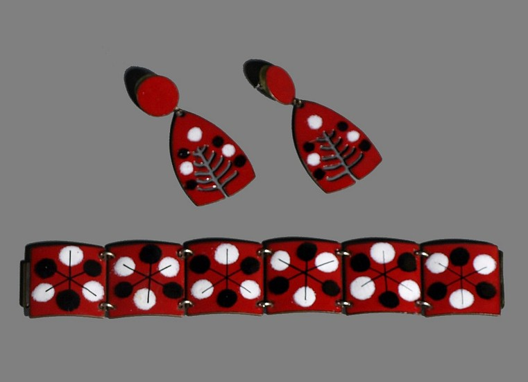 Harold Balazs, Red Set of Earrings and Bracelet 1950s, enamel on metal