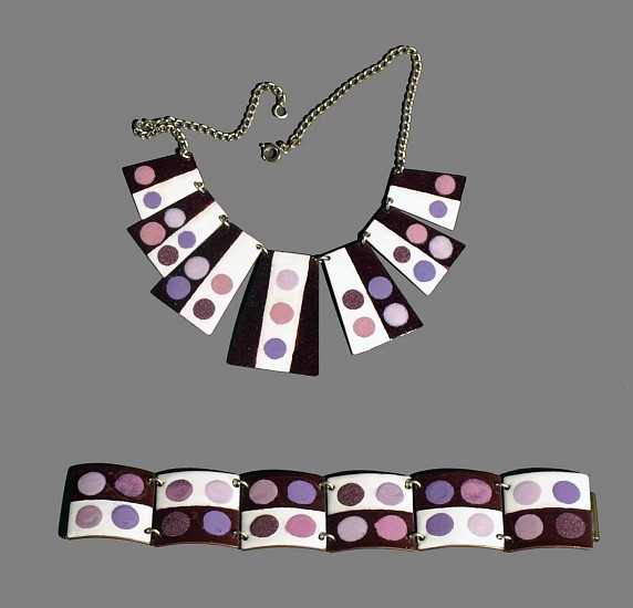 Harold Balazs, Purple Set - Necklace and Bracelet 1950s, enamel on copper