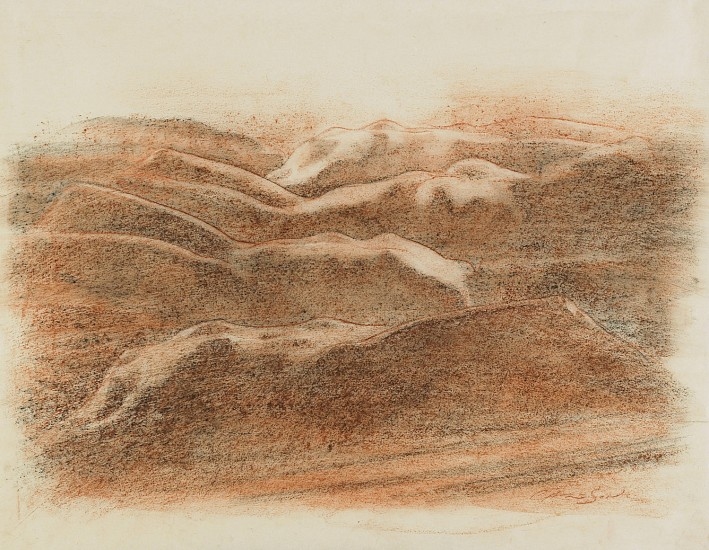 George Carlson, Nude Landscape I 2008, conte on rice paper