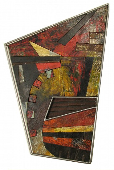 Michael Horswill, Navigate 2009, encaustic, steel, wood, leather, measuring tape