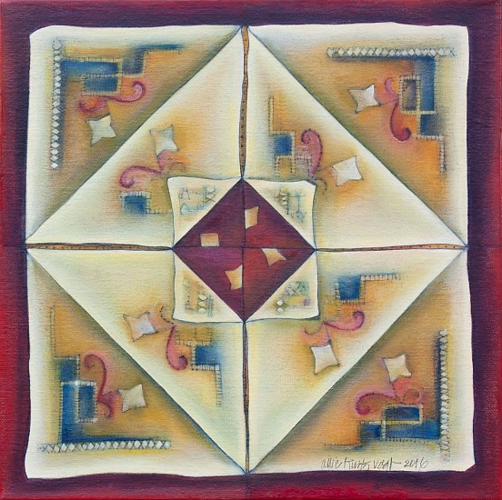 Allie Kurtz Vogt, Around the Table: Linen Fortune Game 2016, oil, aqaba paper, pigmented wax, oil pencil on canvas