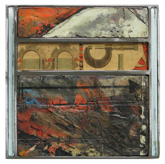 Michael Horswill, The Arcade 2016, steel, wood, encaustic, paper, glass