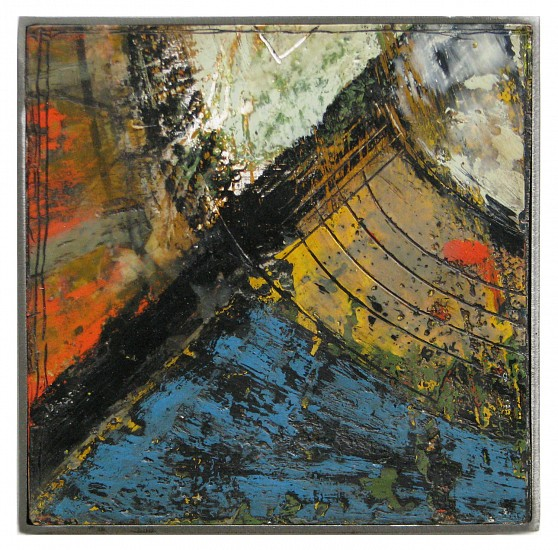 Michael Horswill, Satellite 2016, steel, wood, encaustic, paper, glass
