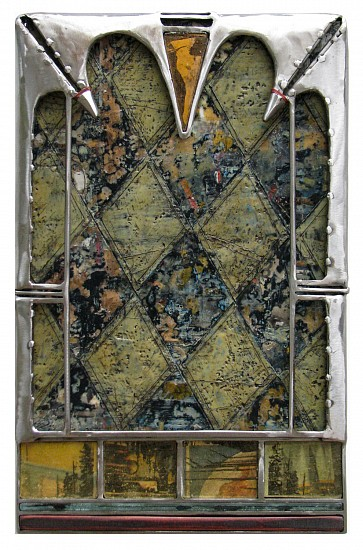 Michael Horswill, Predella 2016, steel, encaustic, paper, glass, leather
