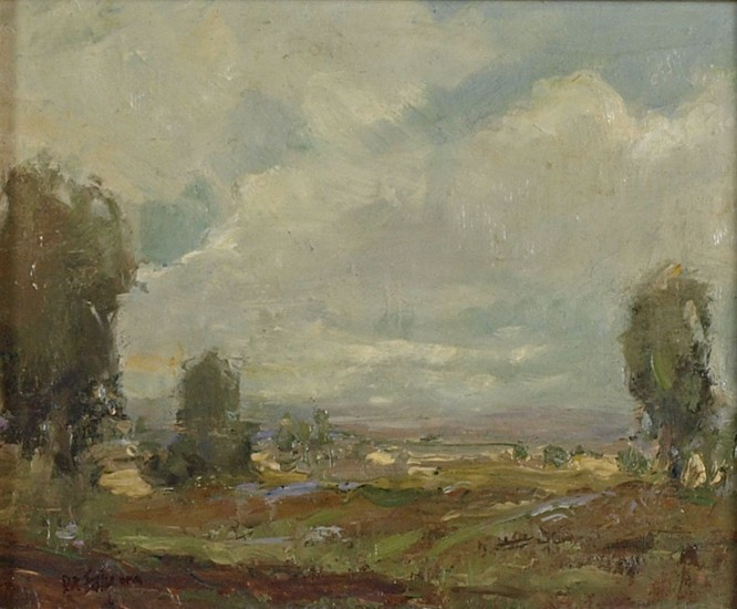 Don Ealy, Landscape with Three Trees oil on board