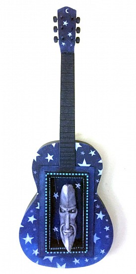 Chris Bivins, Eclipse 2017, ceramic, vintage guitar, wood, polymer clay