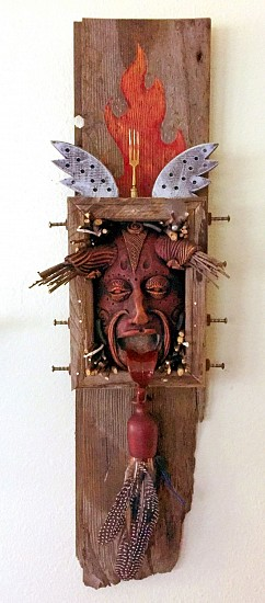 Chris Bivins, Little Red Rooster 2017, ceramic, wood, feathers, found objects