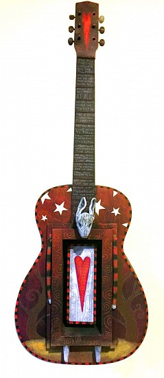 Chris Bivins, White Rabbit 2017, vintage guitar, polymer clay, wood, acrylic