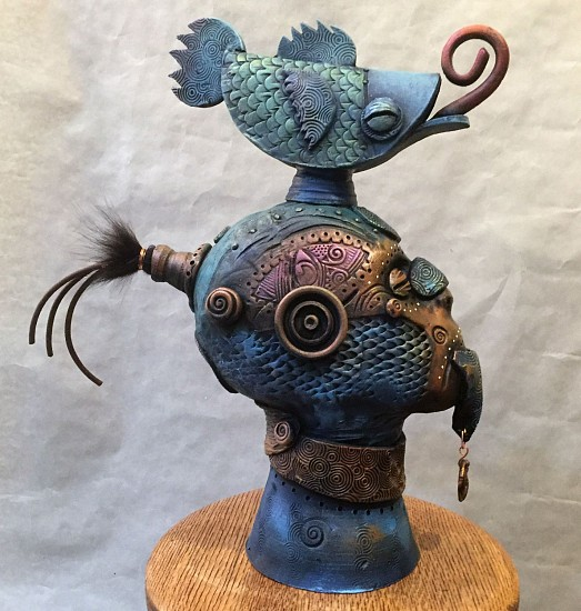 Chris Bivins, Queequeg 2017, ceramic, copper, leather