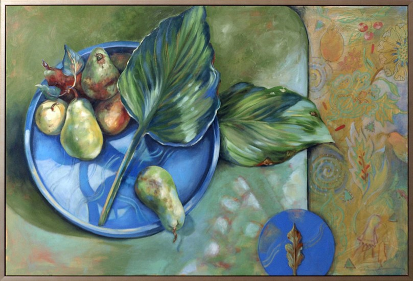 Kay O'Rourke, Pears with Kelsey Bowl 2014, oil on panel