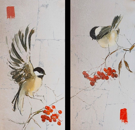 Shannon Troxler, Chickadee and Mountain Ash Diptych 2017, oil on silver leaf on panel