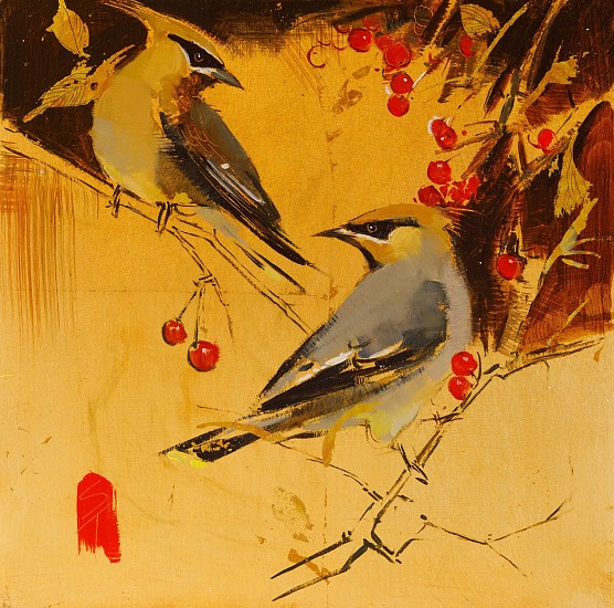 Shannon Troxler, Waxwings and Berries 2017, oil on gold leaf on panel