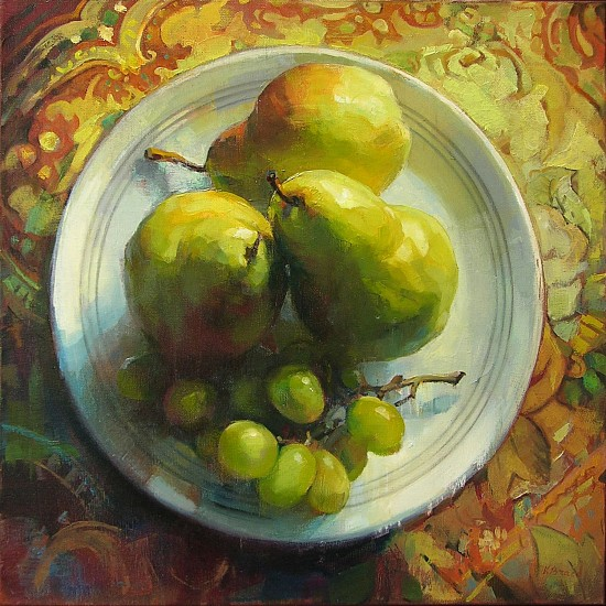 Victoria Brace, Pears and Grapes 2017, oil on canvas