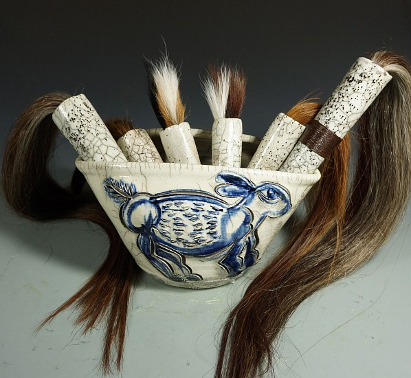 Glenn Grishkoff, Homage to the Rabbit Brush Bouquet #2 2017, horsehair and deer tail hair tops, raku fired handles and bowl