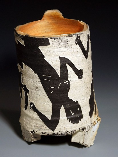 Patrick Siler, Mr. Jiggly Jaggy Pot on 3 Blocks 1981, ceramic
