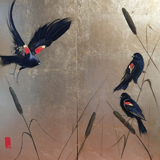 Shannon Troxler, A Chorus of Blackbirds Diptych 2017, oil on gold leaf