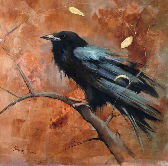 Shannon Troxler, Raven Song 2018, oil and gold leaf on panel