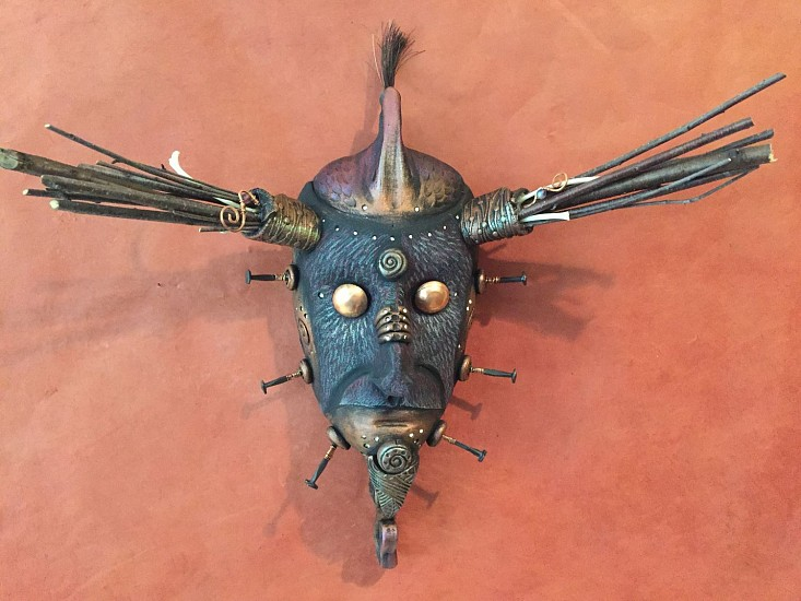 Chris Bivins, Caliban 2016, ceramic, twigs, copper