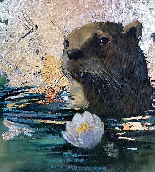 Shannon Troxler, Curious 2018, oil & gold, silver & copper leaf on linen on panel