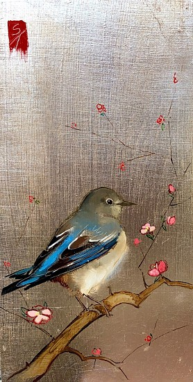 Shannon Troxler, Bluebird Dreams 2018, oil and gold leaf on wood panel