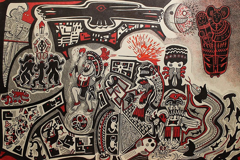 James Todd, Native Iconography of Americas pen on paper