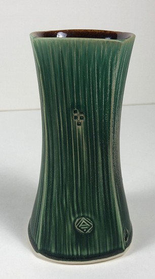 Nick DeVries, Dark Green Square Vase (small) 2018, ceramic