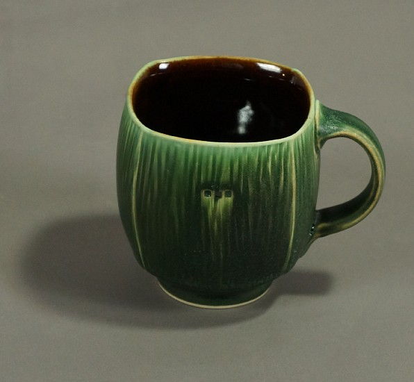 Nick DeVries, Dark Green Footed Mug 4 ceramic