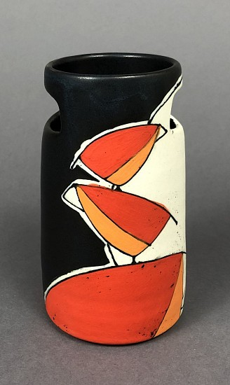 Maya Rumsey, Nighttime Red Bird Stack Vase 2019, porcelain and underglaze