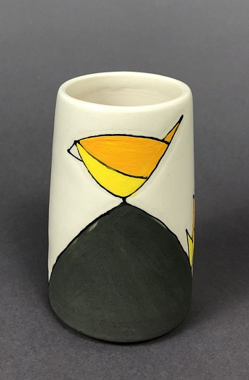 Maya Rumsey, Sunny Yellow Bird Bud Vase 2019, porcelain and underglaze