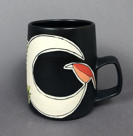 Maya Rumsey, Crescent Moon Bird Mug 2019, porcelain and underglaze