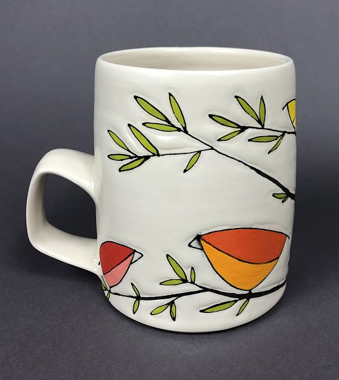 Maya Rumsey, Rainbow Bird Mug 1 2019, porcelain and underglaze