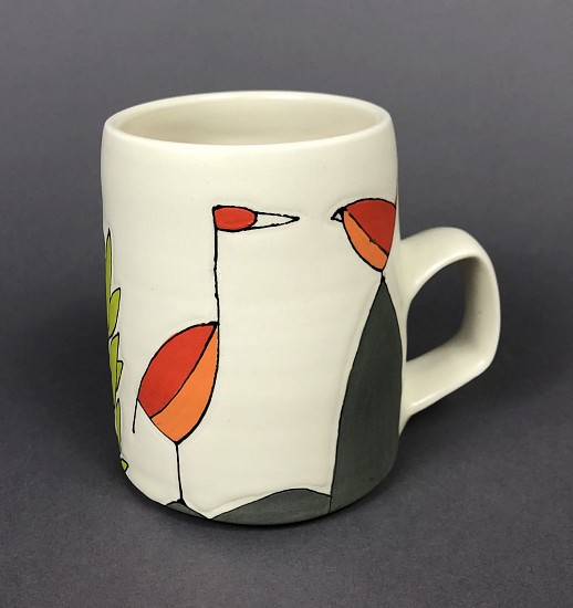Maya Rumsey, Red Bird Chat Mug 2019, porcelain and underglaze