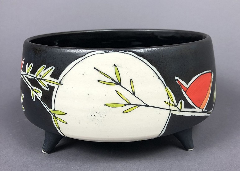Maya Rumsey, Nighttime Red Bird Bowl 2019, porcelain