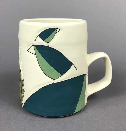 Maya Rumsey, Teal Bird Stack Mug 2019, porcelain